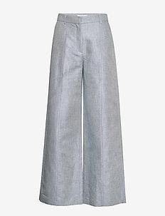 Mindy linen - leveälahkeiset housut - denim blue