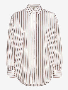Gina cotton - langermede skjorter - camel stripe