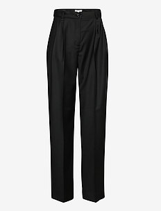 Valentina wool - straight leg trousers - black