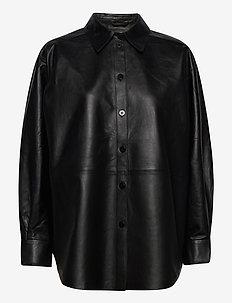 Gina leather - long-sleeved shirts - black