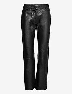 Naoko - pantalons en cuir - black