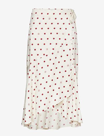 Ruby - slå-om-nederdele - off white + burgundy dot