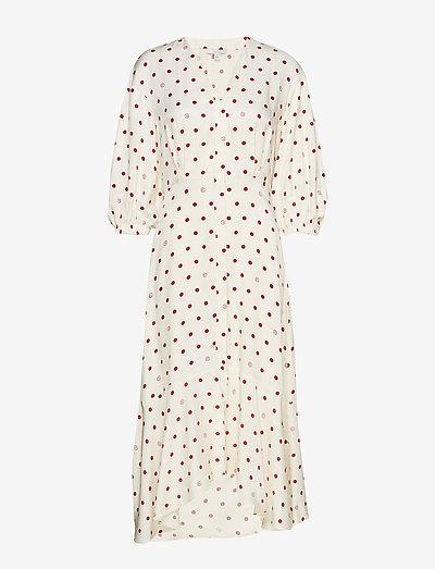 Vivian - midi jurken - off white + burgundy dot