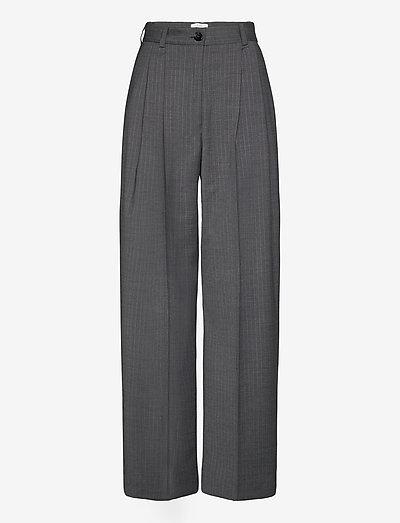 Valentina pinstripe - broeken med straight ben - grey pinstripe