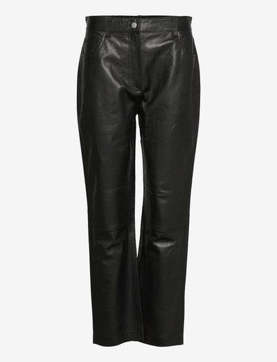 Naoko - læderbukser - black