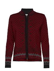 Solfrid feminine jacket - RUBY MELE/DARK CHARCOAL