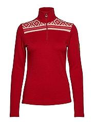 Cortina basic feminine sweater - RASPBERRY/OFF WHITE