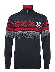 Åre Masculine sweater - SMOKE/RASPBERRY
