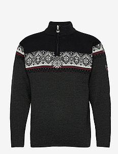 Moritz Masc Sweater - góry - darkcharcoal/raspberry/black