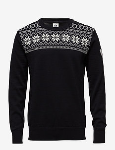 Garmisch Masc Sweater - okrągły dekolt - black/dark charcoal/off white