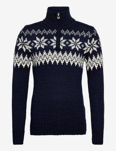 Myking Masc Sweater - half zip - navy/offwhite/lightcharcoal