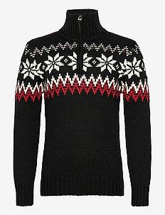 Myking Masc Sweater - kardigany z zamkiem do połowy - black/raspberry/offwhite