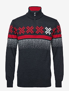 Åre Masculine sweater - SMOKE/RASPBERRY