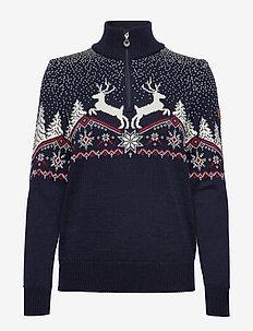 Dale Christmas Fem Sweater - BLUE