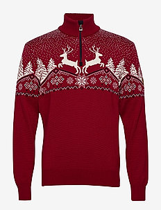 Dale Christmas Masc Sweater - golfy - redrose/offwhite/navy