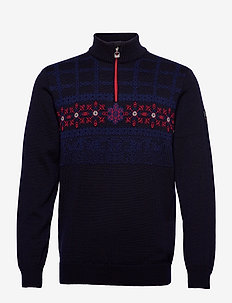 Oberstdorf Masc Sweater - góry - navy/atlanticmel/red/offwhite