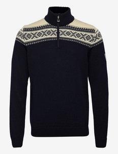 Cortina Heron Masc Sweater - half zip - navy/offwhite