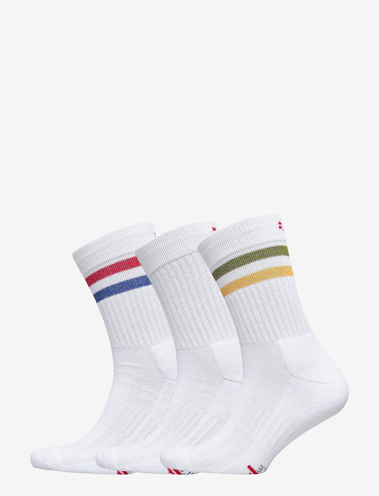 Danish Endurance - Tennis Performance Crew Socks 3 Pack - sokker - white retro (stripes in red/blue, white, green/yellow) - 0