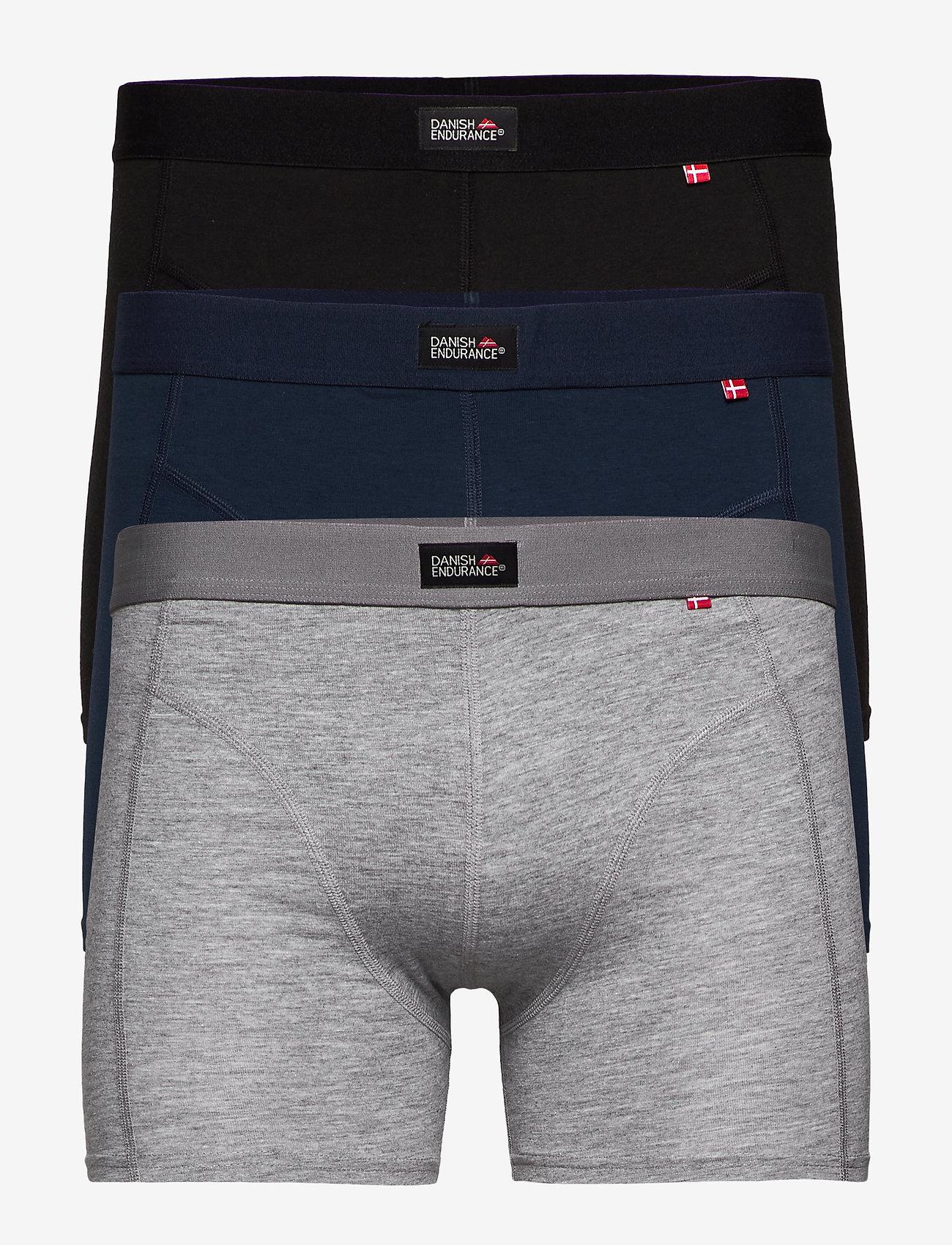 Danish Endurance - Classic Trunks 3 Pack - ondergoed - multicolour (black, navy blue, grey) - 0