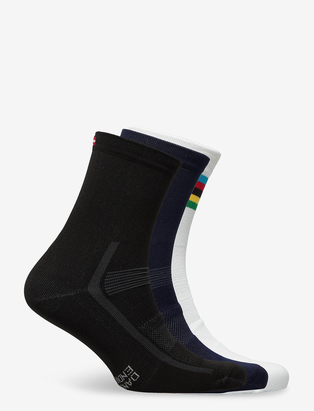 Danish Endurance - High Cycling Socks 3 Pack - kousen - multicolor (1x black, 1x blue, 1x white/stripes) - 1