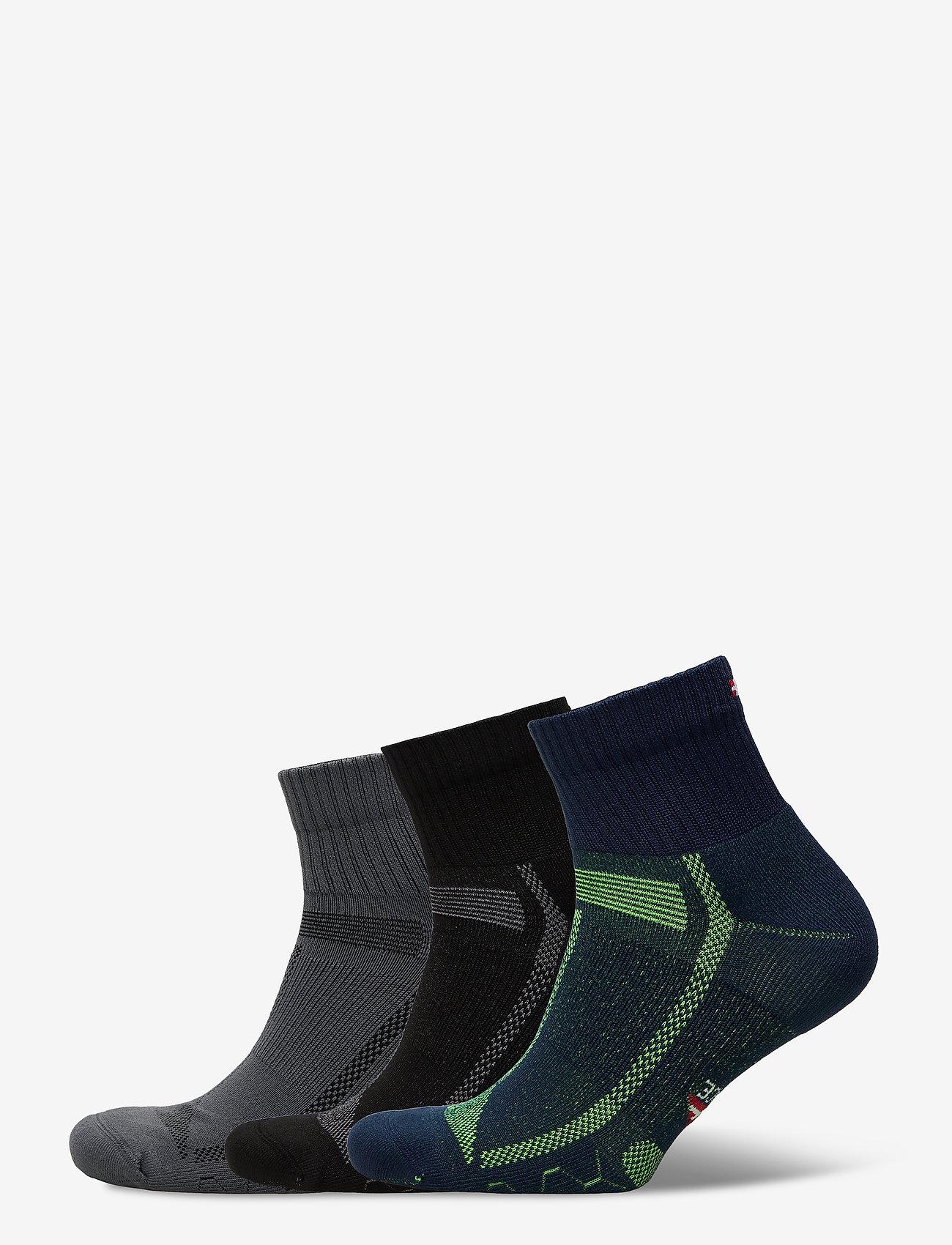 Danish Endurance - Long Distance Running Socks 3 Pack - kousen - multicolor (1x black/grey, 1x blue/yellow, 1x grey/black) - 0