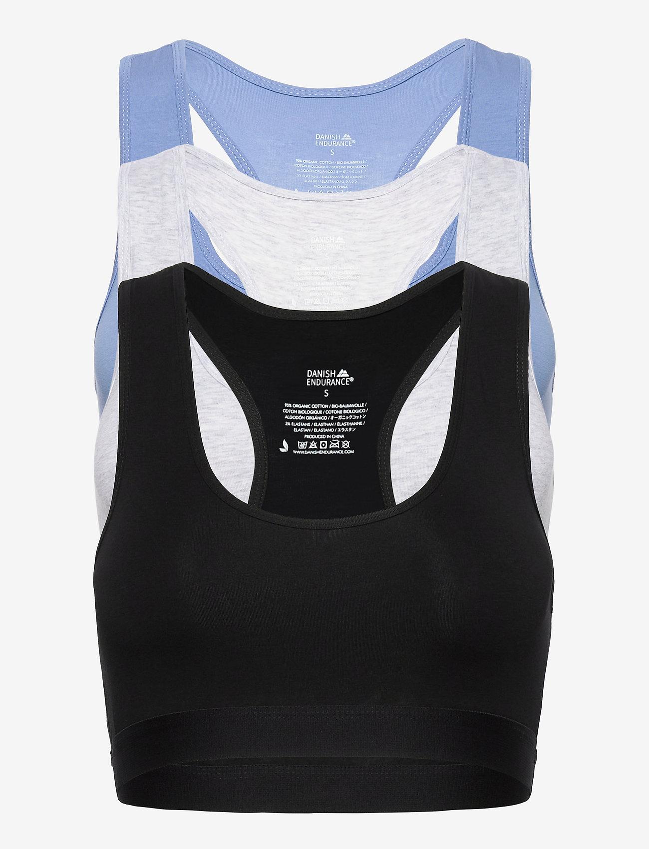 Danish Endurance - Organic Cotton Bralette 3 Pack - zachte beha - multicolor (1x black, 1x grey mélange, 1x light blue) - 0