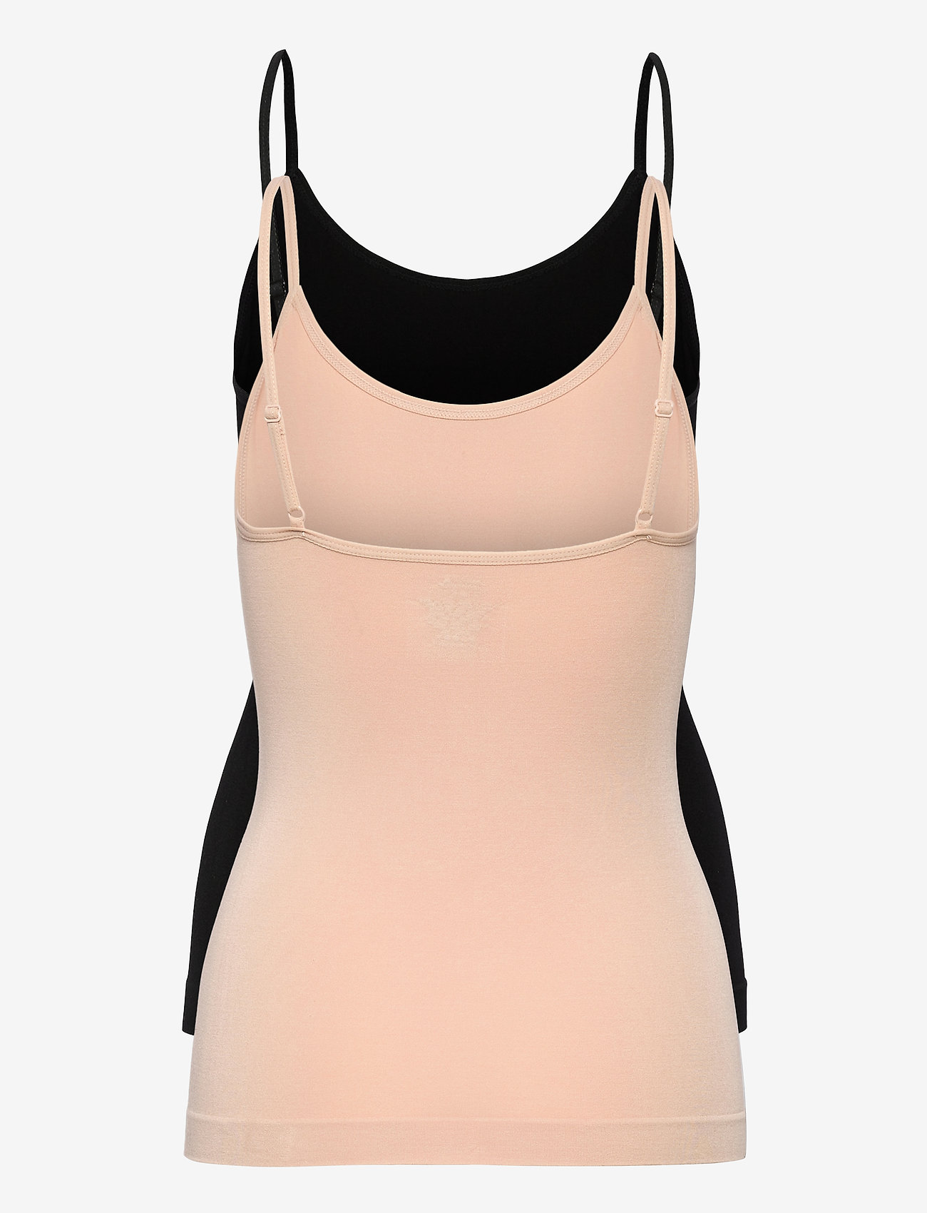 Danish Endurance - Womens Bamboo Strap Top 2-pack - topjes - multicolor (1x black, 1x nude beige) - 1