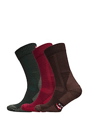 Classic Merino Wool Hiking Socks 3 Pack - MULTICOLOR (GREEN, BROWN, RED)