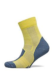 Merino Wool Light Hiking Socks 1 Pack - YELLOW/BLUE GREY