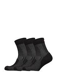 Merino Wool Light Hiking Socks 3 Pack - BLACK