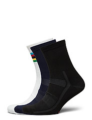 High Cycling Socks 3 Pack - MULTICOLOR (1X BLACK, 1X BLUE, 1X WHITE/STRIPES)