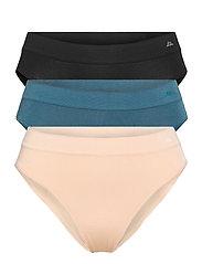 Womens Bamboo Bikini Briefs 3-pack - MULTICOLOR (1X BLACK, 1X LYON'S BLUE, 1X NUDE BEIGE)