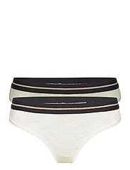 Blooming Lace Thong by Pernille Blume 2 Pack - MULTICOLOR (1 X WHITE, 1 X SEA FOAM GREEN)