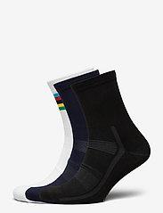 Danish Endurance - High Cycling Socks 3 Pack - kousen - multicolor (1x black, 1x blue, 1x white/stripes) - 0