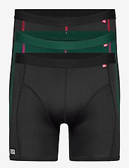 Danish Endurance - Sport Polyester Trunks 3 Pack - ondergoed - multicolor (1x black, 1x black/red, 1x green/purple) - 0