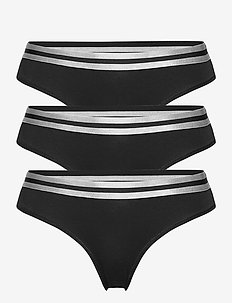 Organic Cotton Thong by Pernille Blume 3 Pack - slips - black
