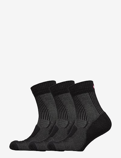 Merino Wool Light Hiking Socks 3 Pack - regular socks - black