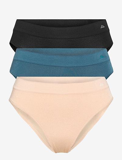 Womens Bamboo Bikini Briefs 3-pack - briefs - multicolor (1x black, 1x lyon's blue, 1x nude beige)