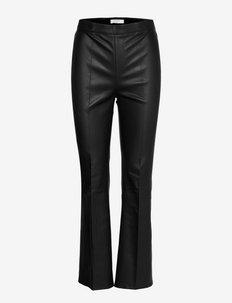 Tyson crop flare leather pants - lederhosen - raven