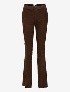 Dollmann flare suede pants - lederhosen - chocolate