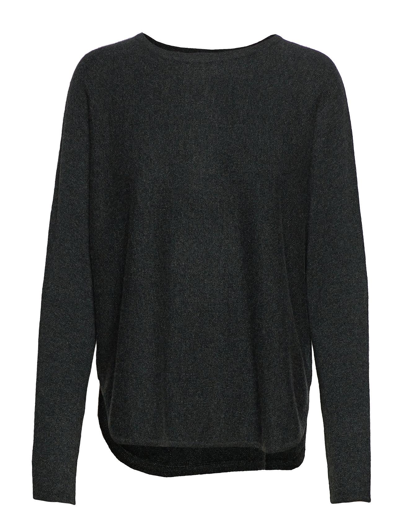 Davida Cashmere Curved Sweater - DEEP GREEN MELANGE
