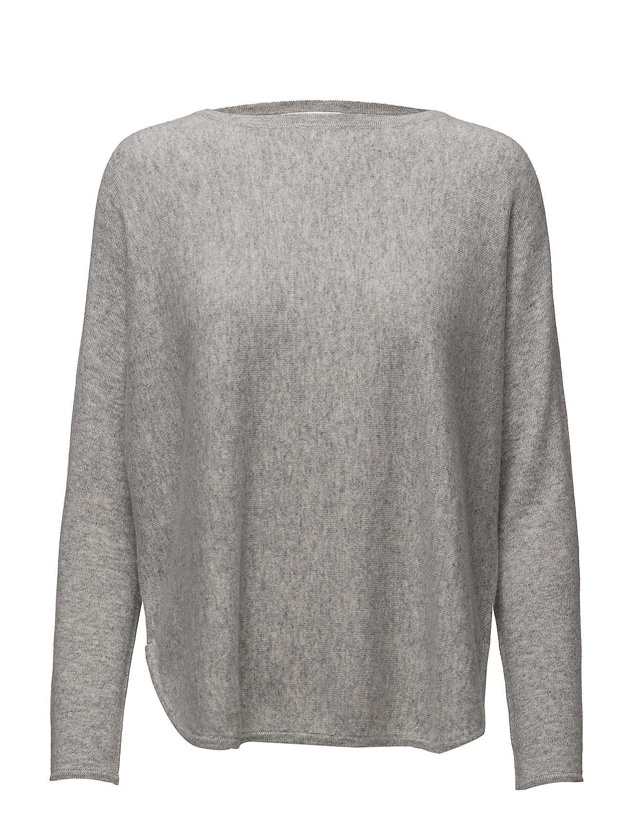 Davida Cashmere Curved Sweater - LIGHT GREY
