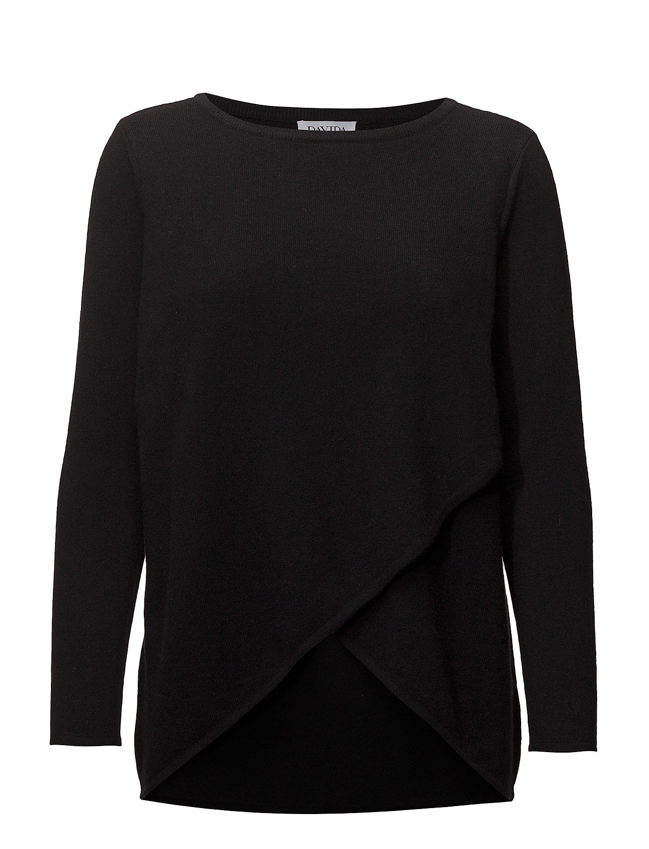 Davida Cashmere Wrap Front Sweater - BLACK