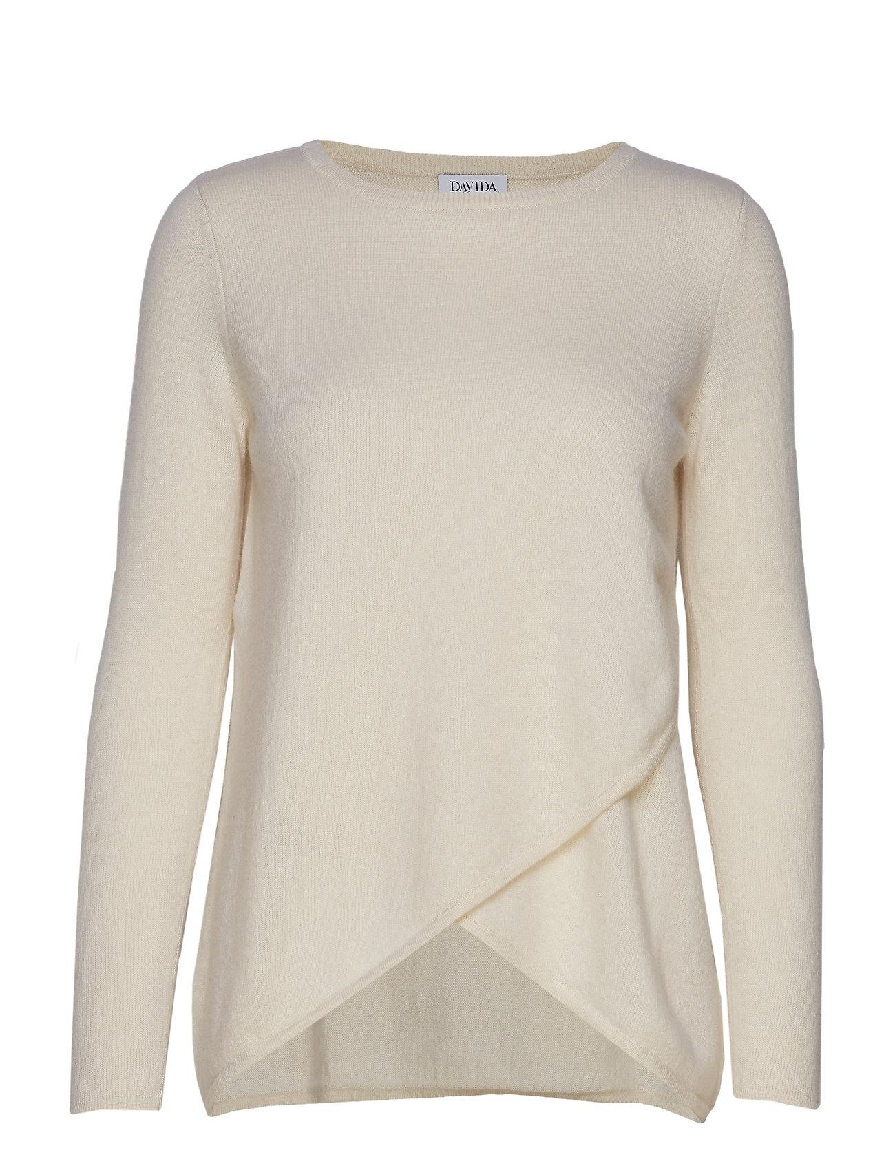 Davida Cashmere Wrap Front Sweater - WHITE