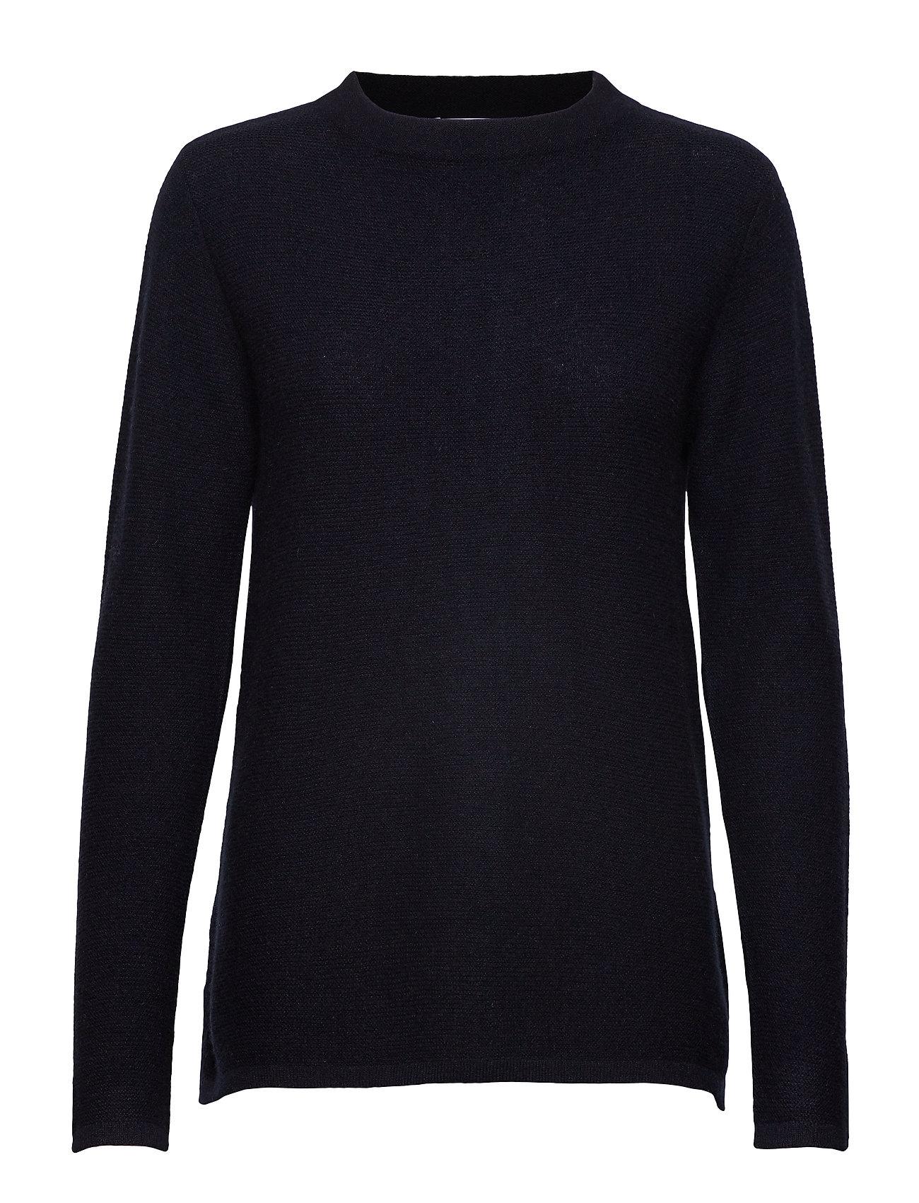 Davida Cashmere Semipolo Slit Sweater - NAVY