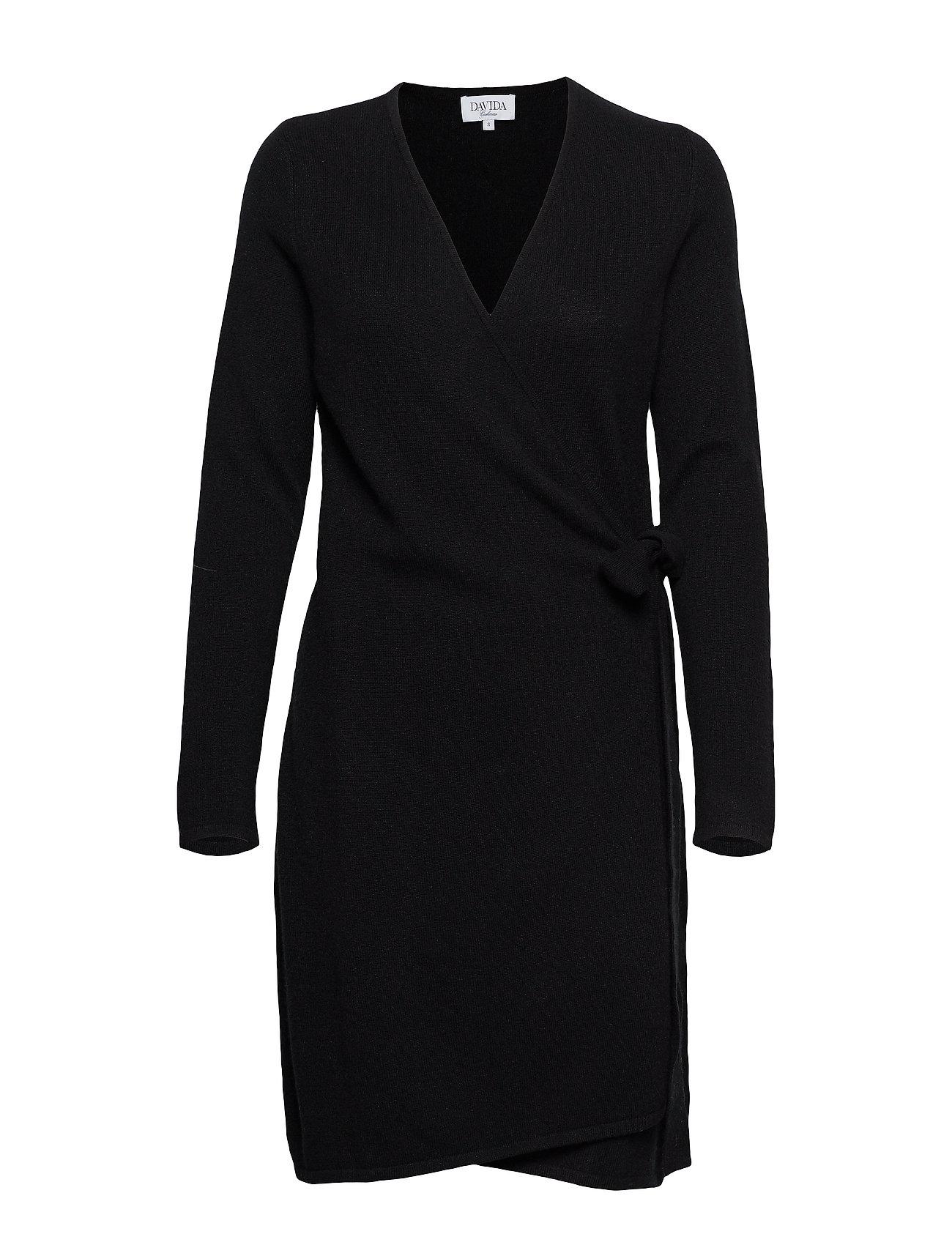 Davida Cashmere Wrap Over Dress - BLACK