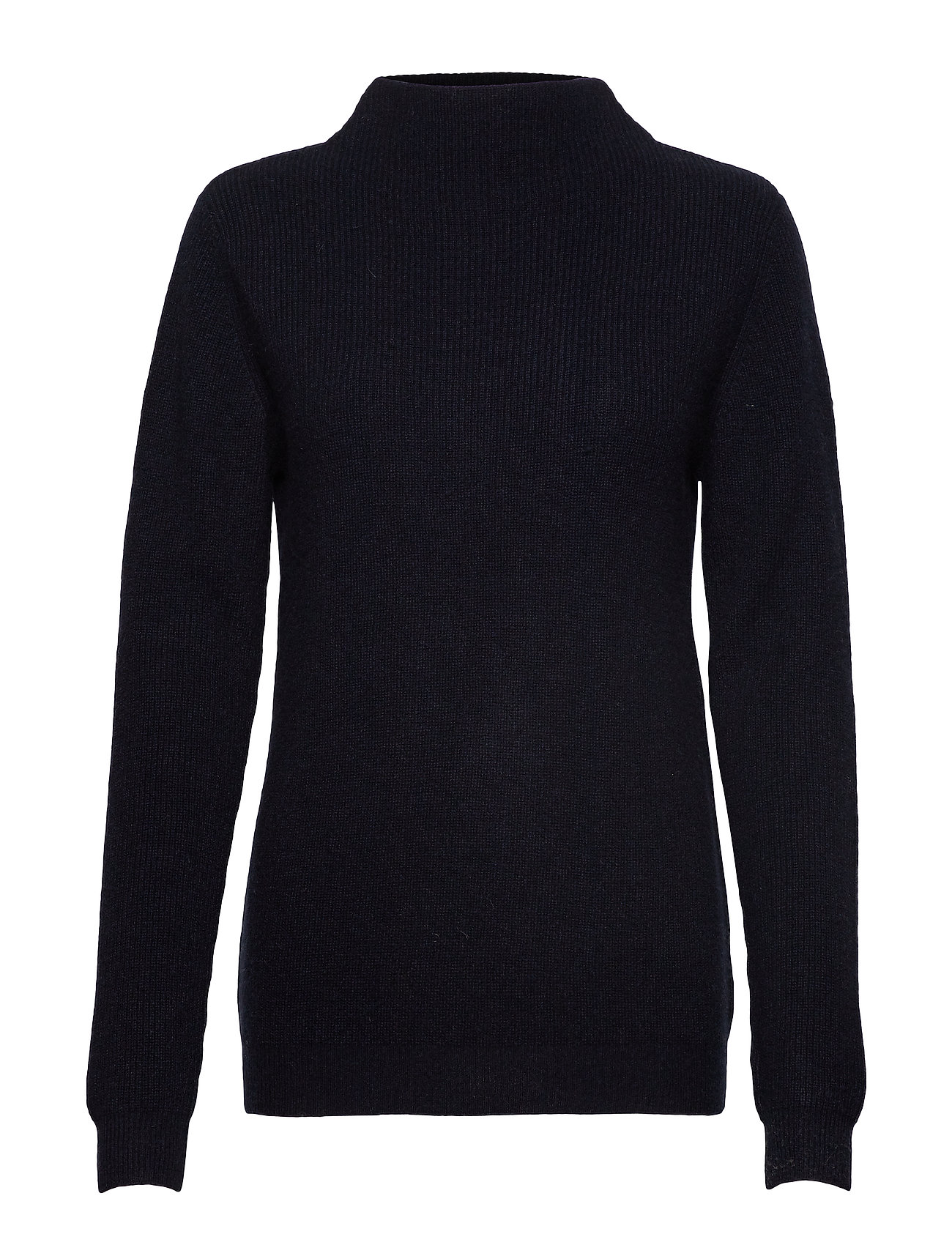 Davida Cashmere Rib Funnel Neck Sweater - NAVY