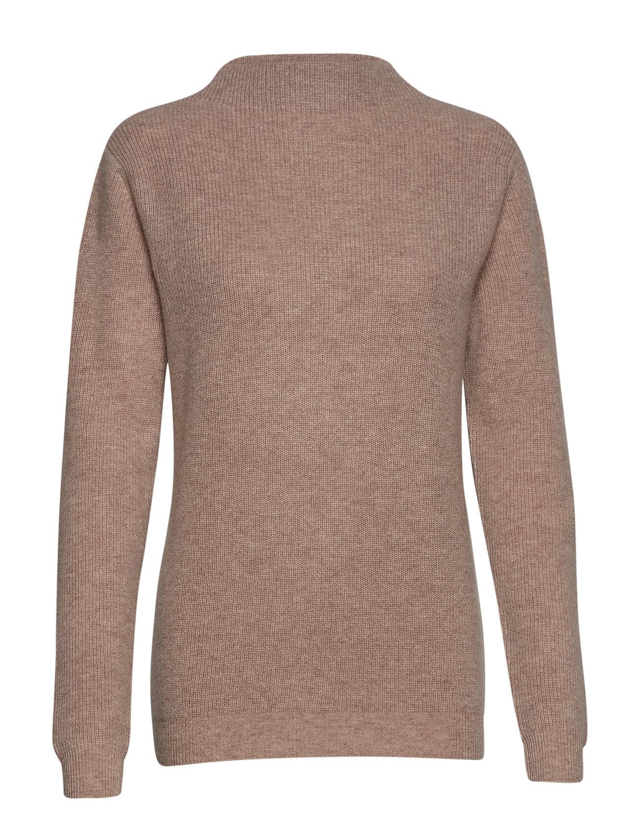 Davida Cashmere Rib Funnel Neck Sweater - SAND