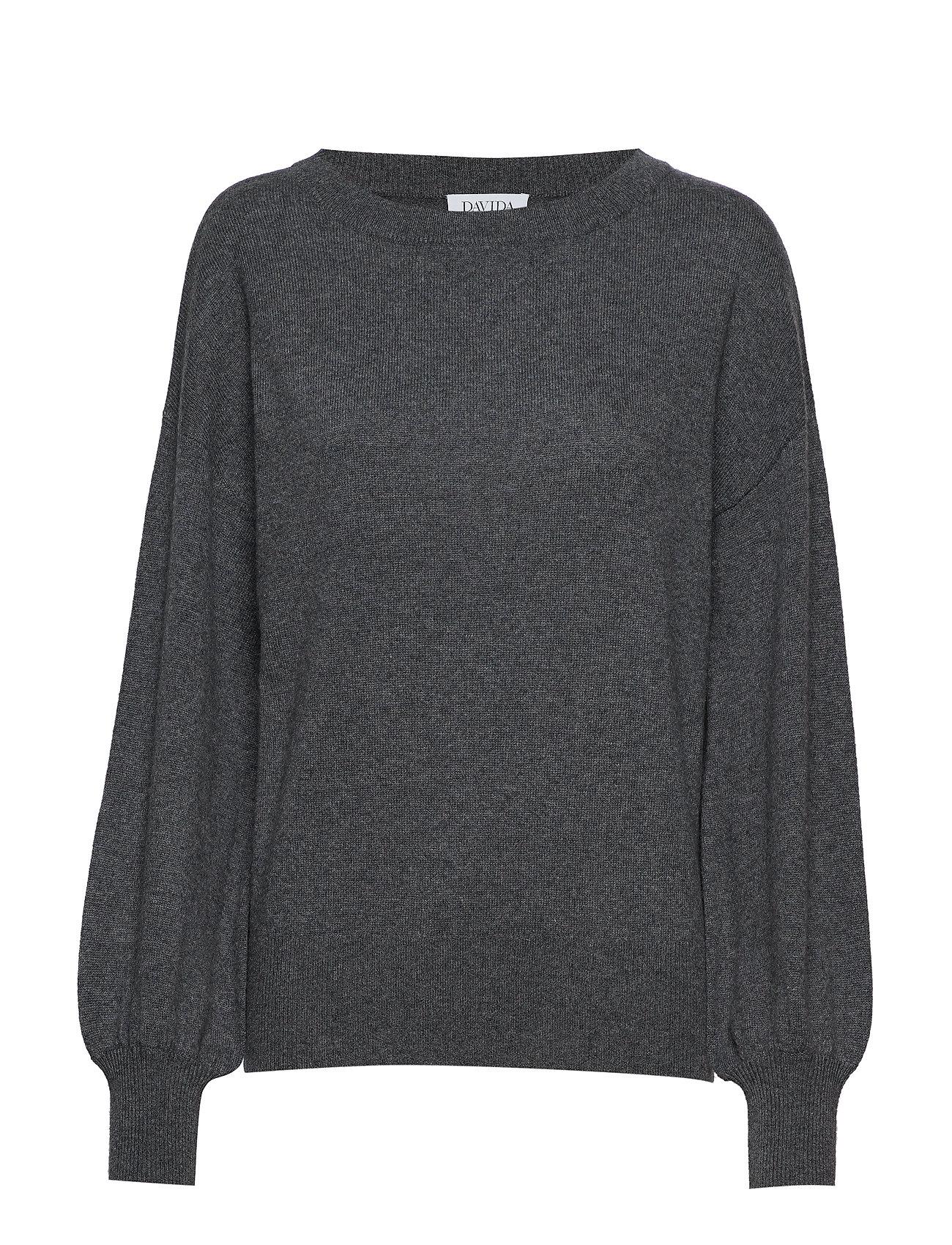 Davida Cashmere Balloon Sleeve Sweater - DARK GREY