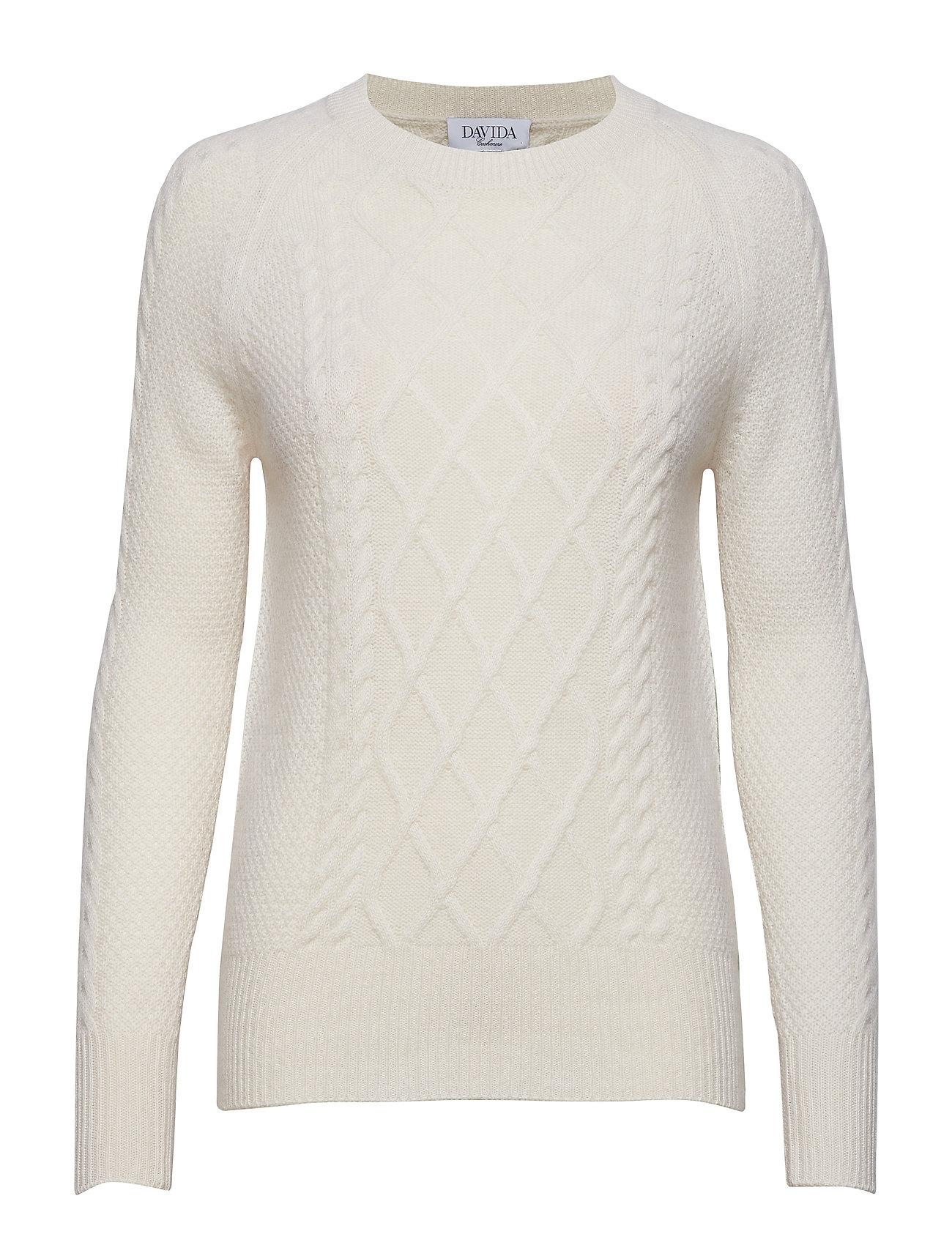 Davida Cashmere Cable Detail Sweater - WHITE